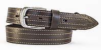 Коричневый кожаный мужской ремень под джинсы MASKO прошитый ниткой