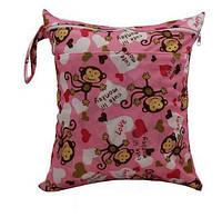 Удобные сумочки для сухих и мокрых вещей c двумя отделениями обезьянки в розовом