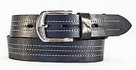 Кожаный мужской ремень под джинсы MASKO прошитый ниткой темно синего цвета