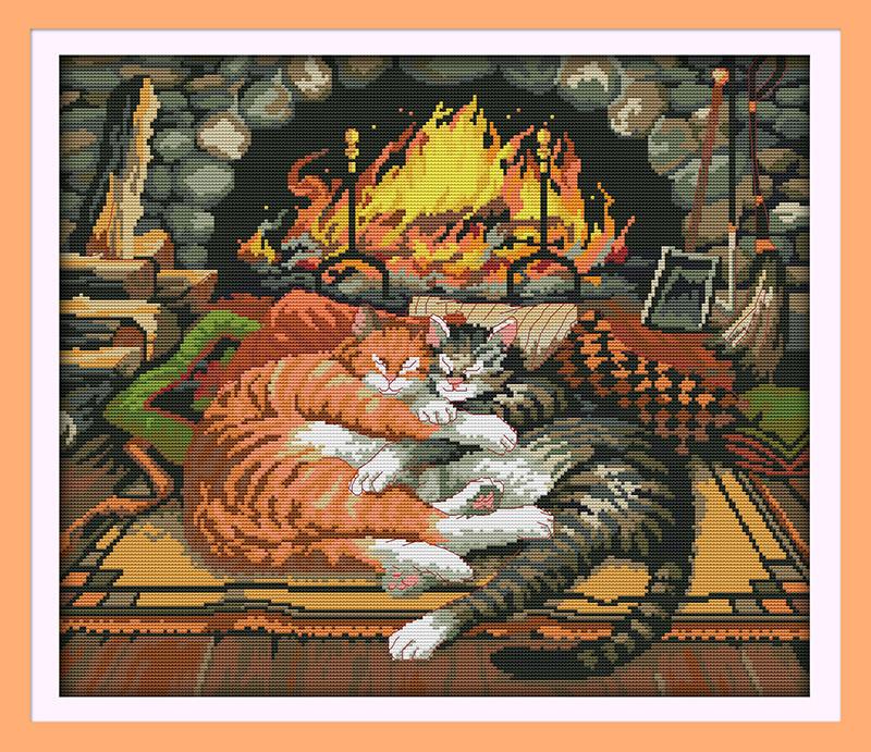 Спящие коты D407 Набор для вышивки крестом с печатью на ткани 14ст