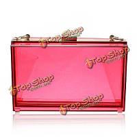 Маленькая сумочка клатч прозрачная розовая