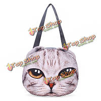 Женщины 3D собака кошка киска лицо симпатичный кошелек tote покупкы плеча сумка