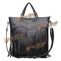 Женщин кисточкой черная большая сумка PU кожаная сумка