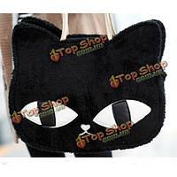 Мода женщин сумки девушки милые кошки голова плюшевая сумка