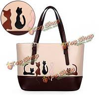 Женщины кошки, сумок случайные животное рисунок большая кролика плечо сумки