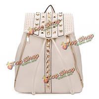 Рюкзак с заклепками из искусственной кожи черный/белый