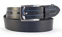 Качественный классический джинсовый ремень с прочной кожи MASKO темно синего цвета