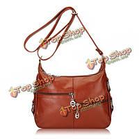 Женщины кожаные сумки мульти карманы дамы элегантные сумки плеча Crossbody сумки