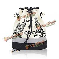 Сумки холст кошка ведро женщины шнурок рюкзак случайные сумки плеча мешки Crossbody