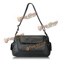 Женщины марочные заклепок лоскут посыльного сумки дамы случайные сумки плеча мешки Crossbody