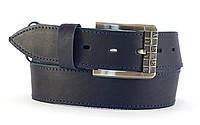 Классный широкий джинсовый ремень с прочной кожи MASKO темно синего цвета