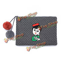 Женщины мультфильм вязаные клатчи дамы случайные длинные молнии бумажник конверт сумки телефон сумки