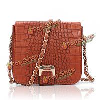 Женщины из крокодиловой кожи лоскута-верхний ремешок-цепочка сумка