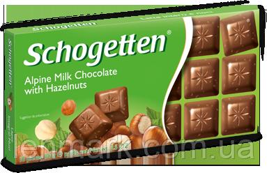 Молочный шоколад Schogetten  «With Hazelnuts»(с кусочками орехов) 100 г