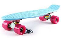 """Пенни борд пастель (Penny board pastel) Fish 22"""" - Синий с розовыми колесами"""