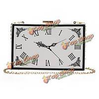 Мода банкет элегантный кожа PU часы узор цепи crossbody сумки