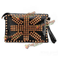 Женская Мода стиль Punk заклепки сцепления сумка креста тела сумка