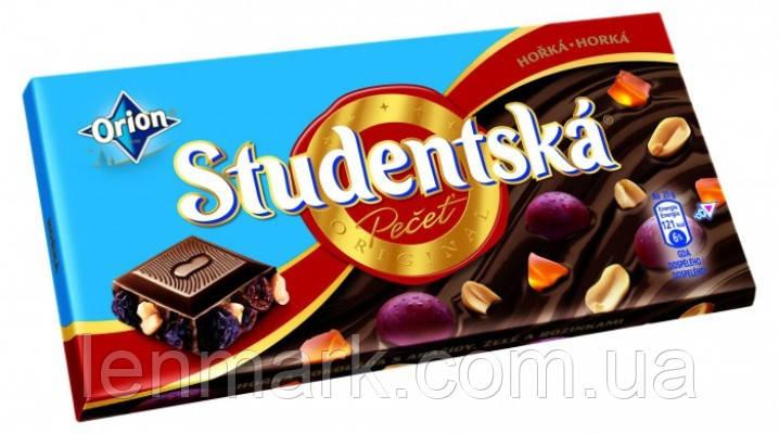Черный шоколад Studentska «Horka» с арахисом, изюмом и цитрусовым желе, 180 г