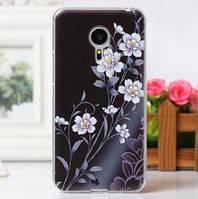 Чехол накладка из силикона для Meizu Pro 5 с рисунком цветы
