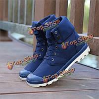 Новые моды для мужчин вскользь высокие верха обуви холст на открытом воздухе на шнурках спортивные кроссовки обувь