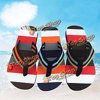 Мужчины мода лето полосатый пляж флип-флоп домой плеть тапочки вскользь аппартаментов обувь