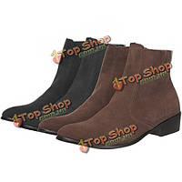 Мужские на молнии обувь ботильоны повседневные кожаные кроссовки