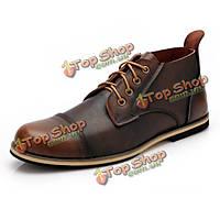 Крупные мужчины размера формальные деловые ботинки шнуруют указанные пуанты повседневная обувь