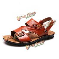Новых мужчин открытый сандалии кожаные ботинки мягкие удобные летние пляжные тапочки обувь плоские туфли