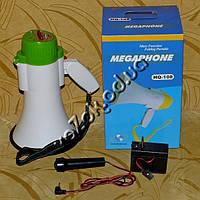 Мегафон громкоговоритель рупор орало модель HQ-108 с аккумулятором, записью и микрофоном, фото 1