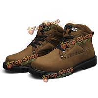 Мужские зимние теплые ботинки хаки черный зашнуровать ботинки