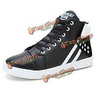Новых мужчин высокие верхние открытый моды случайные шнуровке пу спортивной обуви короткие сапоги