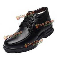 Мужчины случайные зимние ботинки зашнуровать теплые сапоги плюс противоскользящие высокие сапоги верхние
