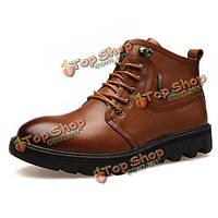 Новые люди зима сохранить теплые удобные плюшевые хлопок высокой крышей кожаные ботинки ботинки бизнес
