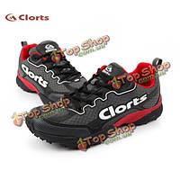Clorts Мужская Skidproof пу сетки воздуха вентилятор работает спортивная обувь