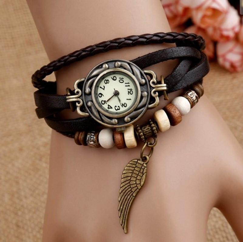 Женские часы-браслет винтажные коричневые Перо