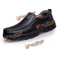 Большого размера мужчин формальные кожаные полуботинки скольжения на круглый носок обуви мягкое дно Oxfords
