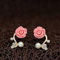 Сережки розовый цветок позолота