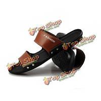 2015 новые летние мужчины большой размер пляж сандалии обувь досуг кожаные тапочки