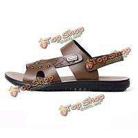 Новый дизайн лета мужские кожаные сандалии мужчины пляж отдых тапочки