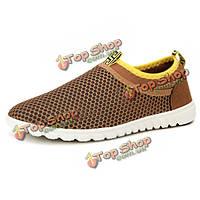 Мы размер 6.5-10.5 мужчин вскользь спортивной обуви квартиры комфортно дышащая сетка полые из спортивной обуви