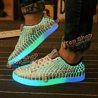 Женщины и мужчины свет змеиной обувь зашнуровать кроссовки цветочные зашнуровать ночь легкие кроссовки обувь