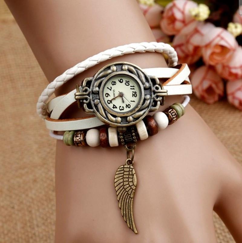 Женские часы-браслет винтажные белые Перо