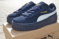 Puma x Rihanna Suede Женские кроссовки замшевые темно-синие с белым