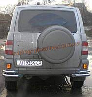 Защита заднего бампера уголки двойные D60-42 на УАЗ Patriot