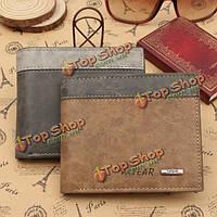 Мужская кожа PU Двойные кошелек ID держатель бизнеса кредитных карт