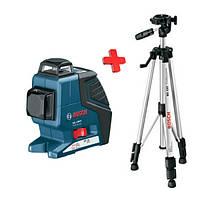 Линейный лазерный нивелир Bosch GLL 2-80 P + штатив BS 150, 0601063205