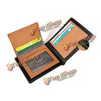 Ретро мужчины стиль пу кожаный бумажник бизнеса держатель короткий карманные карты