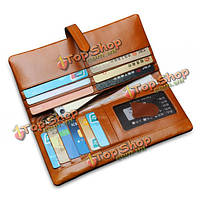 Мужчины womem натуральная кожа пара долго бумажник держатель карты карман сумки
