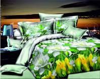 Комплект постельного белья  двуспальный с желтыми тюльпанами