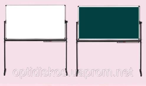 Оборотная маркерно-меловая доска ABC Office 90 x 120 см, алюминиевая рама